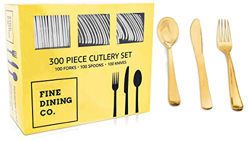 FineDining Gold Plastic Silverware Set - Premium Quality Disposable Utensils - 300 Pieces - Includes 100 Forks, 100 Spoons, 100 Knives - Heavyweight Plastic Dinnerware ()
