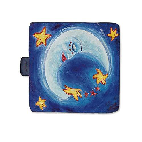 TecBillion Moon Stylish Picnic Blanket,Vibrant Happy Dancing Stars and Sleepy Moon with Facial Expressions Mat for Picnics Beaches Camping,58