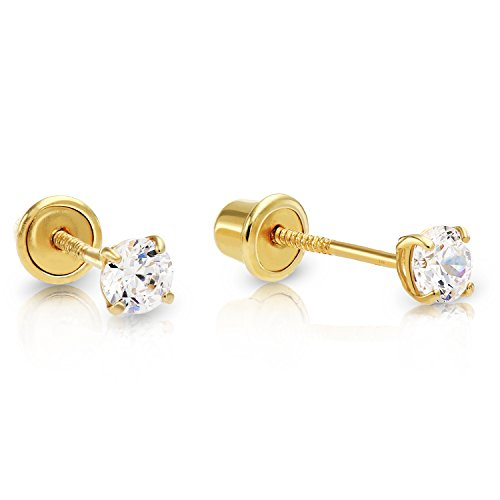 14k Yellow Gold Cubic Zirconia Stud Earrings with Screw Backs (3mm) (Screw 14k Gold Stud)