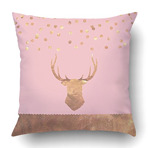 Emvency Decorative Throw Pillow Cover Case for Bedroom Couch Sofa Home Decor Rose Gold Foil Confetti Stag Greeting Card Square 20x20 Inches Rose Gold ()