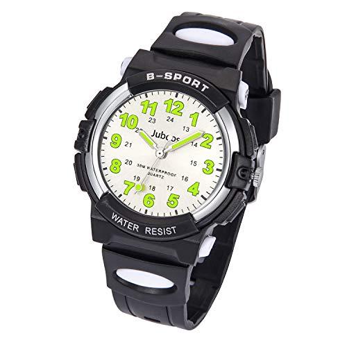 Kids Watch, Child Quartz Wristwatch with for Boys Kids Waterproof Time Teach Watches Rubber Band Analog Quartz Children Sport Outdoor Wrist Watches (Black)