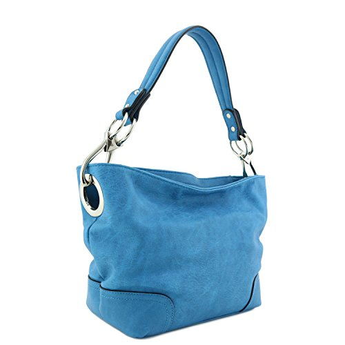 Small Hobo Shoulder Bag with Snap Hook Hardware ()
