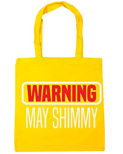 HippoWarehouse advertencia puede Shimmy Tote Compras Bolsa de playa 42cm x38cm, 10litros amarillo