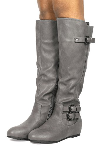 DREAM PAIRS Womens Knee High Low Hidden Wedge Boots (Wide Calf Available) Franca-grey ze8kYPIM1