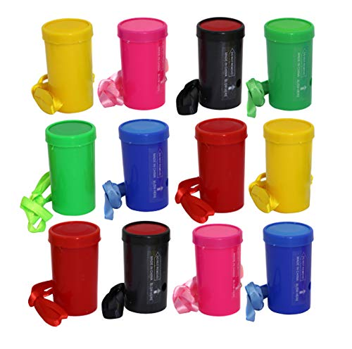 Air Blaster Horns In Assorted Colors Fun Stadium Noisemakers - 3 Inch Mini Air Horn Whistles (Pack of 12) -