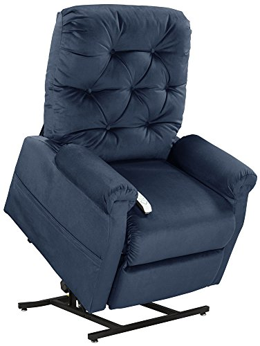 (Mega Motion Lift Chair Easy Comfort Recliner LC-200 3 Position Rising Electric Power Chaise Lounger - Navy Blue Color Fabric)