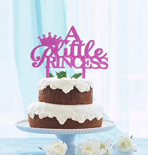 GrantParty A Little Princess Crown Cake Topper Purple Glitter - Anniversary Party Decoration Photo Props Birthday Party Decoration Ideas | Perfect Keepsake