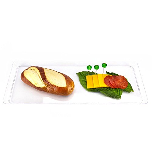Creative Converting 15.5-Inch Rectangle Plastic Serving Tray, (Clear Trays)