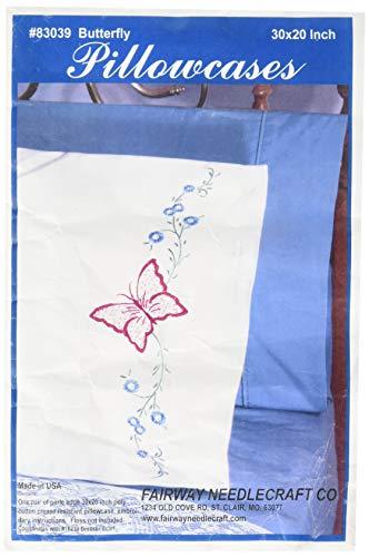Fairway Needlecraft 83039 Perle Edge Pillowcases, Butterfly Design, Standard, White
