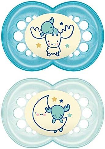 MAM Original Night 6+ (2 unidades), Chupetes luminosos que brillan en la oscuridad, chupete ortodóntico y anti irritaciones, chupete de noche en látex natural, azul: Amazon.es: Bebé