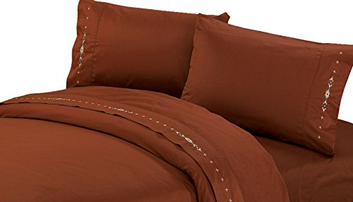 - HiEnd Accents Embroidered Navajo Sheet Set, Full, Copper