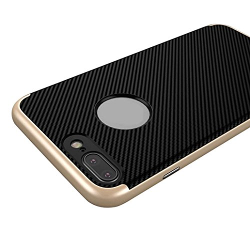 For iPhone 7 Plus Case, HP95(TM) Luxury Men Hybrid armor Hard Bumper Soft TPU Rubber Skin Back Case Cover For iphone 7 plus 5.5inch (Gold) (Cs Spigen Iphone Plus 6)