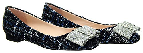 J Crew Women's Poppy Ballet Flats Tweed Glitter Bow Ocean Black Shoes 8.5 J8237