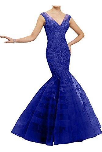 Marie Ballkleider Blau Royal La Blau Braut Dunkel Spitze Damen Partykleider Abendkleider Dunkel Meerjungfrau Figurbetont pwCHq8x
