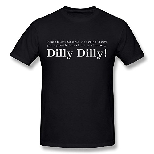 Stitched Brads (East Rise Sir Brad Dilly Dilly Men's Sport Elastic Round Neck Short-Sleeved T-Shirt Black Tee)