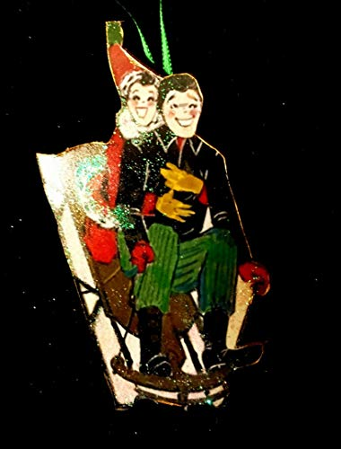 (1950s Sledding Couple Ornament Handcrafted Wooden Christmas Mid-Century Card Married, Winter Wedding Favor Gift Anniversary, Sled Santa Hat)