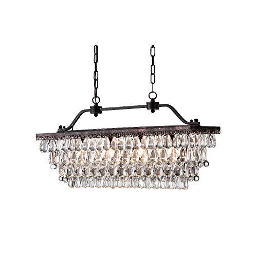 Windsor Home Deco WH-63145 Pendant Lamp, Vintage Crystal Hanging Chandelier, Crystal/Metal Rectangle Pendant Lights Fixture for Dining Room Bedrooms Lighting