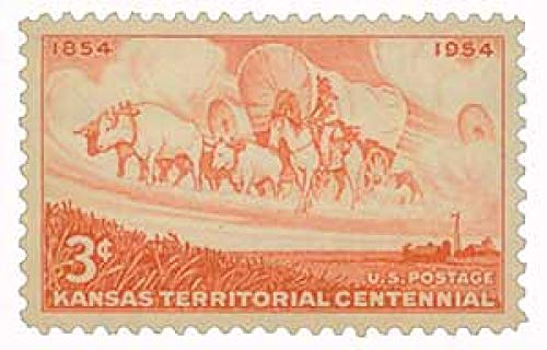 USA 1954 3-Cent Kansas Territory Wheat Field and Wagon Train Postage Stamp, Catalog No 1061, MNH ()