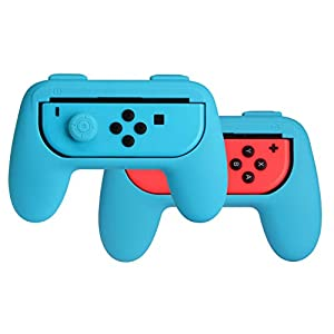 AmazonBasics Grip Kit for Nintendo Switch Joy-Con Controllers – Blue