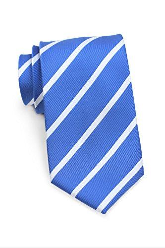 Bows-N-Ties Men's Necktie Classic Repp Stripe Microfiber Matte Tie 3.25 Inches (Riviera Blue and White) ()