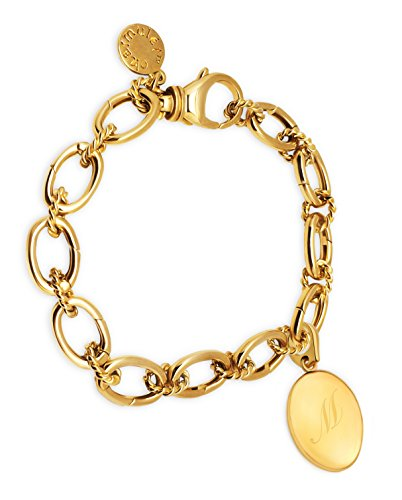 14k Bracelet Charm Oval (CHARMULET 14k Plated Gold Charm Bracelet With Oval Initial Locket Letter M - Gift Box Included)