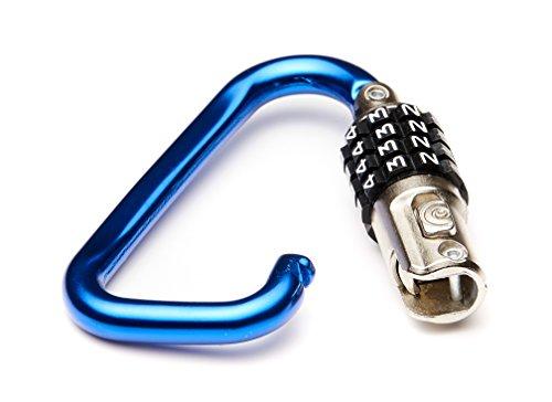 """EyezOff 3.5"""" Carabiner Aluminum Multi Purpose Lock 4 Dial Combination D Shape (Blue)"""