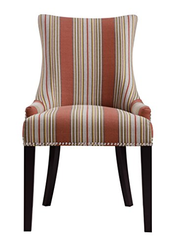 Upholstered Stripe - Pulaski Imperial Stripe Upholstered Dining Chair in Bourbon, Multicolor