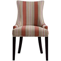 Pulaski Imperial Stripe Upholstered Dining Chair in Bourbon, Multicolor