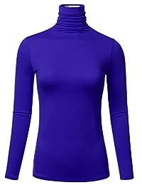 FLORIA Ligero para Mujer de Manga Larga Turtleneck Parte Superior Pullover Sweater (S-3X)