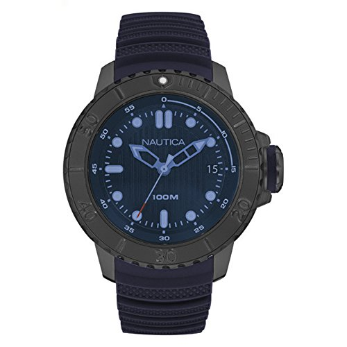 Nautica Men's 'NMX DIVE STYLE DATE' Quartz Stainless Steel and Silicone Casual Watch, Color:Dark Blue (Model: NAD20509G)
