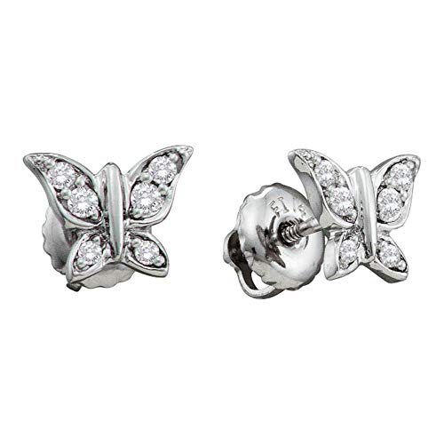 The Diamond Deal 14kt White Gold Womens Round Diamond Butterfly Bug Screwback Stud Earrings 1/8 Cttw ()
