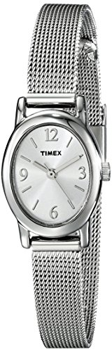 Timex Women's T2N743 Cavatina Silver-Tone Stainless Steel Mesh Bracelet Watch (Mesh Silver Watch Tone)