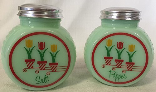 Salt & Pepper Shaker Set - Tire Shaped - Jade (Tulips) (Salt And Tire Shakers Pepper)