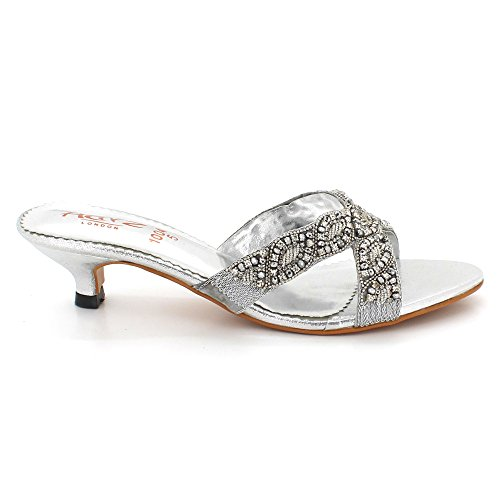 AARZ LONDON Women Ladies Rhinestones Evening Wedding Party Bridal Comfort Diamante Low Kitten Heel Slip-on Sandals Shoes Size Silver RIs9Mm6mm5