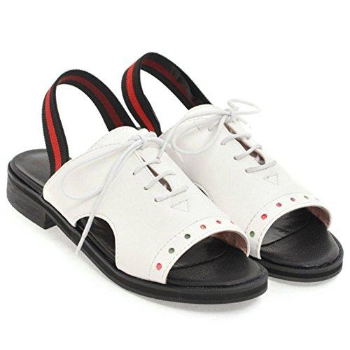 Up Women's 49 Shoes TAOFFEN Lace White Sandals E6HqM1wO