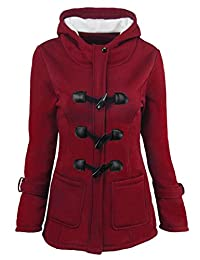 Suncolor8 Womens Plus Size Winter Warm Hooded Wool Trench Pea Coat Jacket