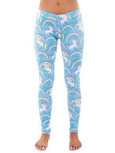 Rainbow Bright Leggings - Women's Pastel Blue Rainbow Unicorn Leggings: