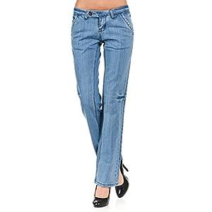 VIRGIN ONLY Women's Light blue straight leg trouser jean