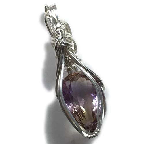 - Ametrine Pendant Necklace Sterling Silver, 11ct Yellow Purple Gemstone Jewelry 3S4 ZB