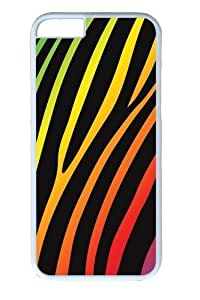 Dark Rainbow Zebra3 PC Case Cover For Apple Iphone 4/4S and White