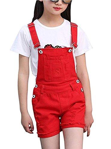Big Girl's Denim Jumpsuit Boyfriend Red Jeans Denim Romper Shortalls 4-5Y