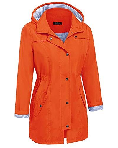 Outdoor Trench Raincoats Jacket Women Hooded Waterproof Lightweight Orange Active Coats 70gXZ