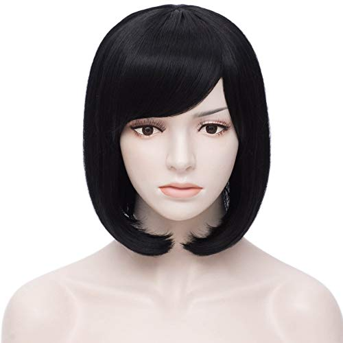 Short Black Hair Wigs Bob Wig with Bangs for Women Straight Cosplay Wig 12 Inch Natural Looking As Real Hair BU152BK]()