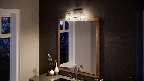 Luxury Crystal Bathroom Vanity Light, Medium Size: 6.25''H x 12.5''W, with Classic Style Elements, Brushed Nickel Finish and Marquis Cut Glass Shades, G9 LED Technology, UQL2620 by Urban Ambiance by Urban Ambiance (Image #1)
