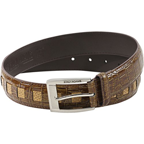 Stacy Adams Men's Cognac Croco Embossed Genuine Leather Belt Sz: 32