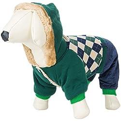 CueCue Pet's [Large] Ultra Plush Hunter Green Plaid Animal Hoodie