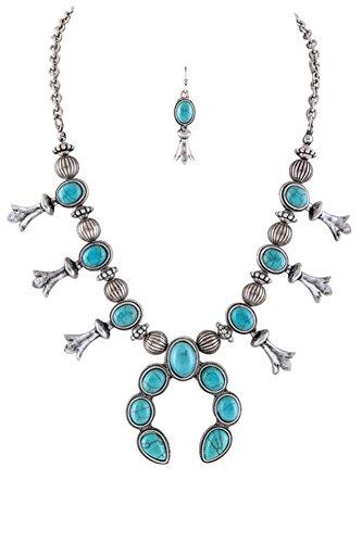 Jayde N' Grey Navajo Southwestern Squash Blossom Turquoise Necklace (Turquoise Petite Size)