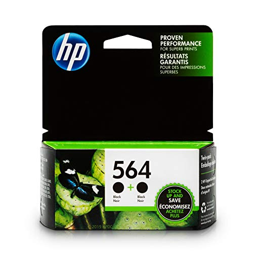 HP 564 Black Ink Cartridge (C2P51FN) 2 Ink Cartridges for HP Deskjet 3520 3521 3522 3526 HP Officejet 4610 4620 4622 HP Photosmart: 5510 5512 5514 5515 5520 5525 6510 6512 6515 6520 6525 7510 7515