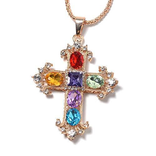 Shop LC Delivering Joy Multi Color Chroma Crystal Cross Pendant Necklace 30