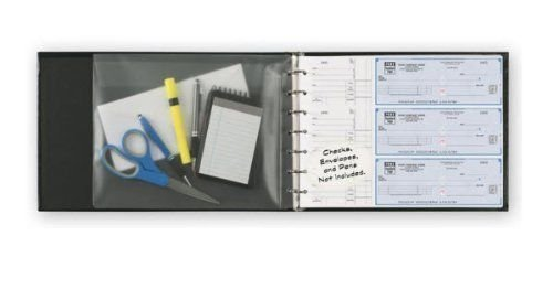 Abc TOP QUALITY Durable 3 On A Page Business Check Book Binder (7-Ring) – Black Professional Finance Document Holder with Fold Over Clear Vinyl Pouch Bill Keeper – Removable 6-Year Calendar
